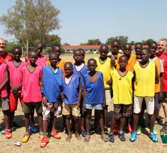 Primary football team training